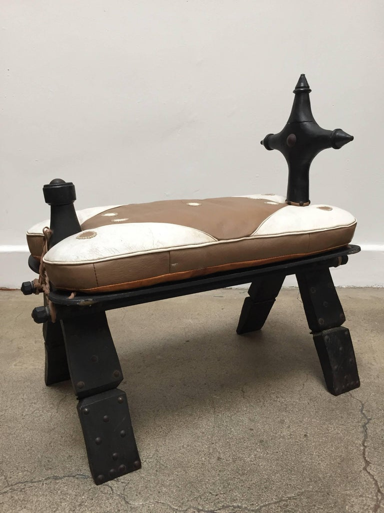 Vintage Moroccan Tuareg Camel Wooden Saddle Stool With