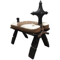 Vintage Moroccan Tuareg Camel Wooden Saddle Stool with Leather Cushion