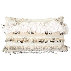 Vintage Moroccan White Pillow with Silver Sequins and Long Fringes