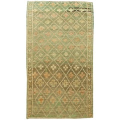 Vintage Moroccan Wool Rug with Tribal Geometric Design on Green Background