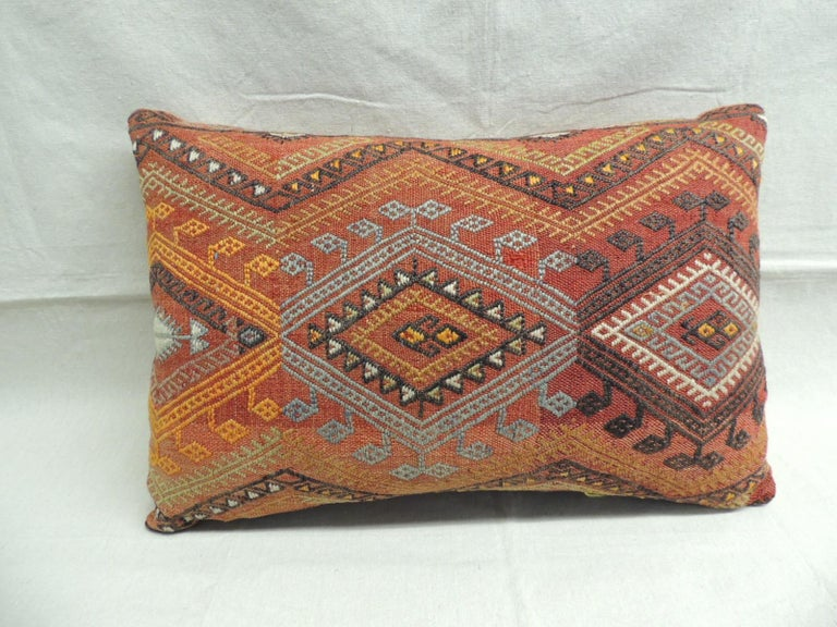 Vintage Moroccan Woven Orange and Red Kilim Decorative Bolster Pillow In Good Condition For Sale In Fort Lauderdale, FL