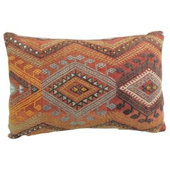 Vintage Moroccan Woven Orange and Red Kilim Decorative Bolster Pillow