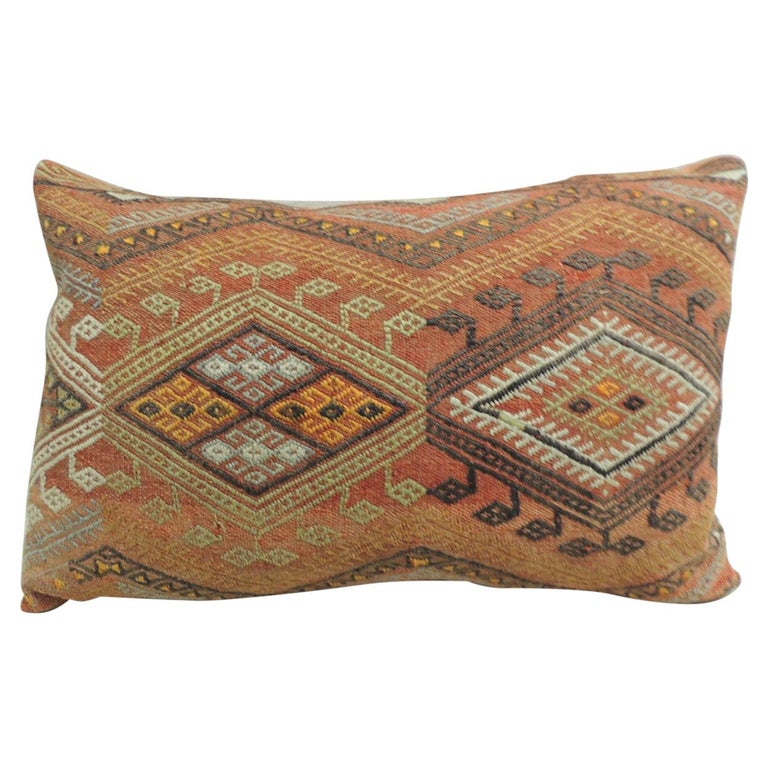 Vintage Moroccan Woven Orange and Red Kilim Decorative Bolster Pillow For Sale