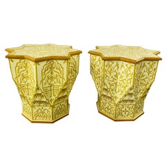 Vintage Moroccan Yellow & White Side or End Table in Star Shape, a Pair