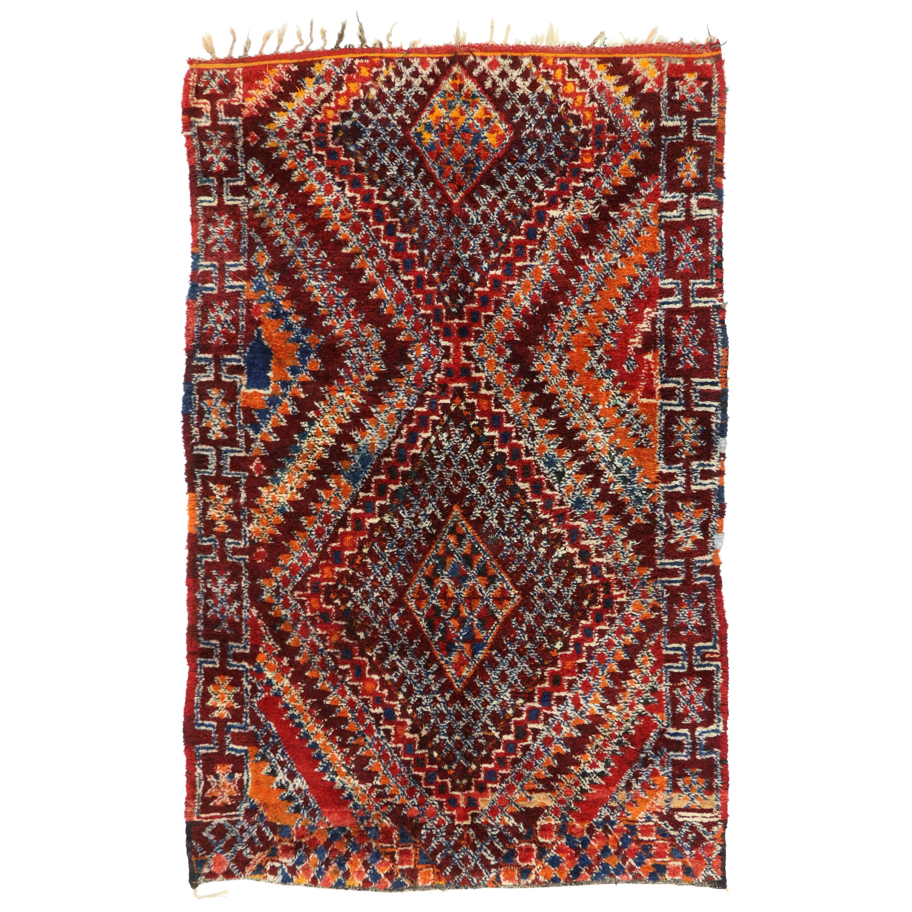 Vintage Moroccan Zayane Rug with Tribal Style, Colorful Moroccan Berber Carpet