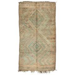 Vintage Moroccan Zemmour Rug - Neutral, Green