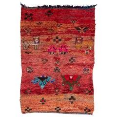 Vintage Moroccan Zemmour Zaer Rug - Red