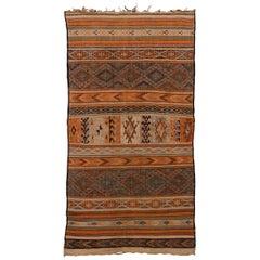 Vintage Moroccan Zemour Flatweave Rug - Earth Tones, Brown, Orange