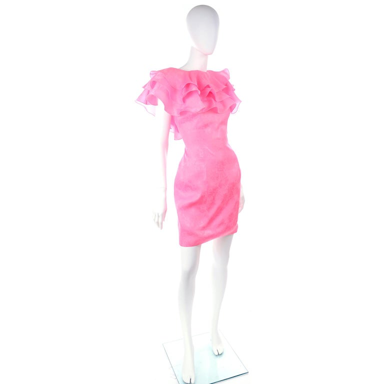 Vintage Morton Myles Saks Fifth Avenue Hot Pink Silk Ruffled Organza Dress In Excellent Condition For Sale In Portland, OR
