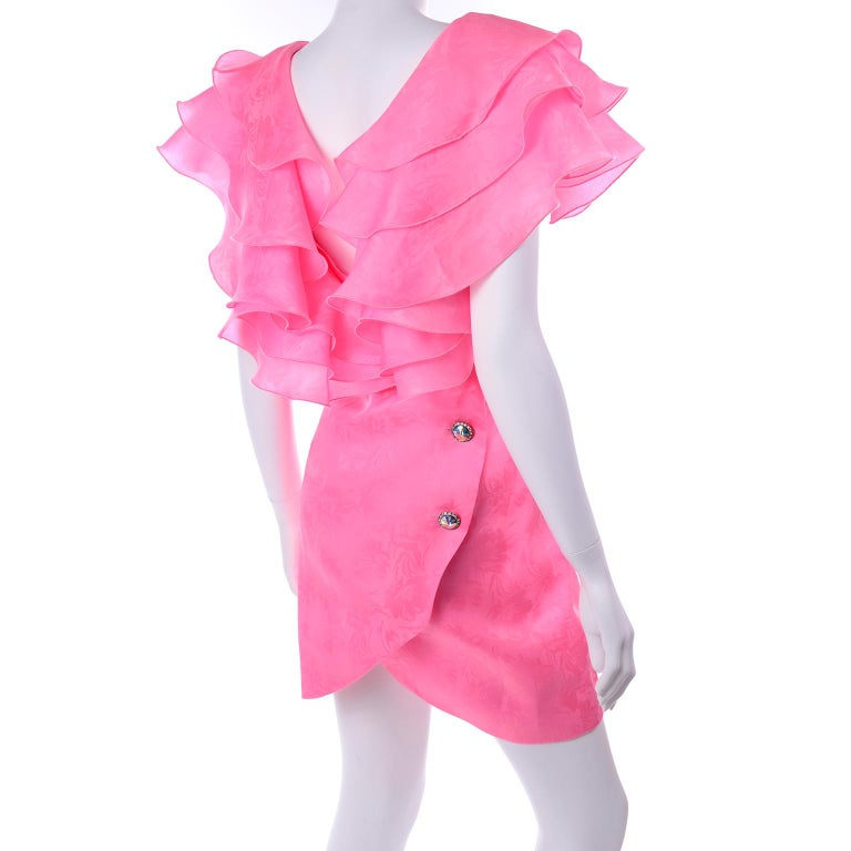 Women's Vintage Morton Myles Saks Fifth Avenue Hot Pink Silk Ruffled Organza Dress For Sale