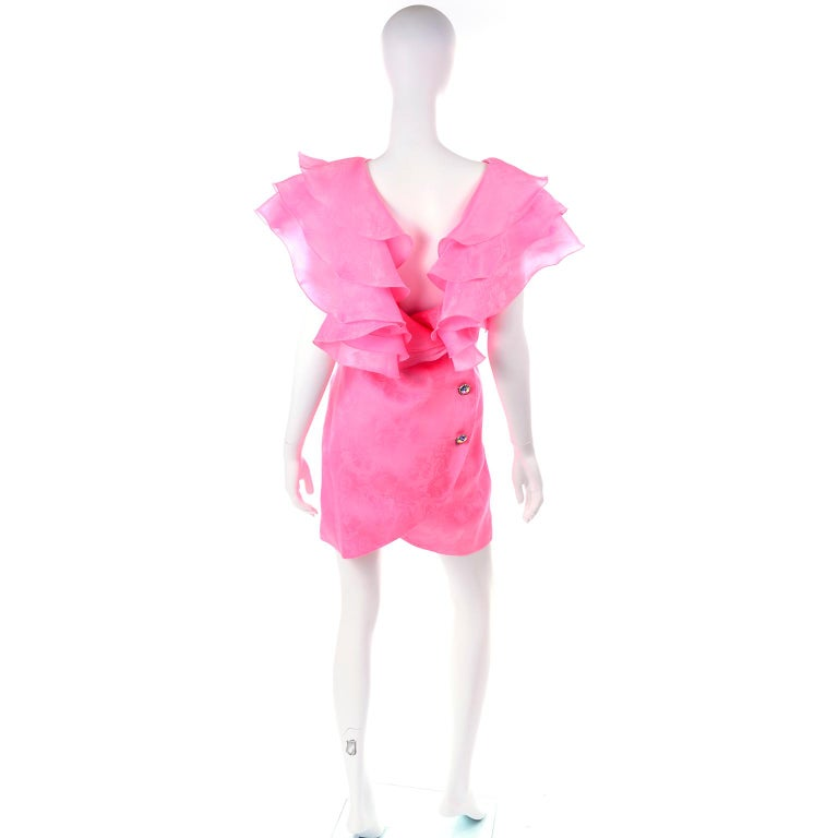 Vintage Morton Myles Saks Fifth Avenue Hot Pink Silk Ruffled Organza Dress For Sale 1