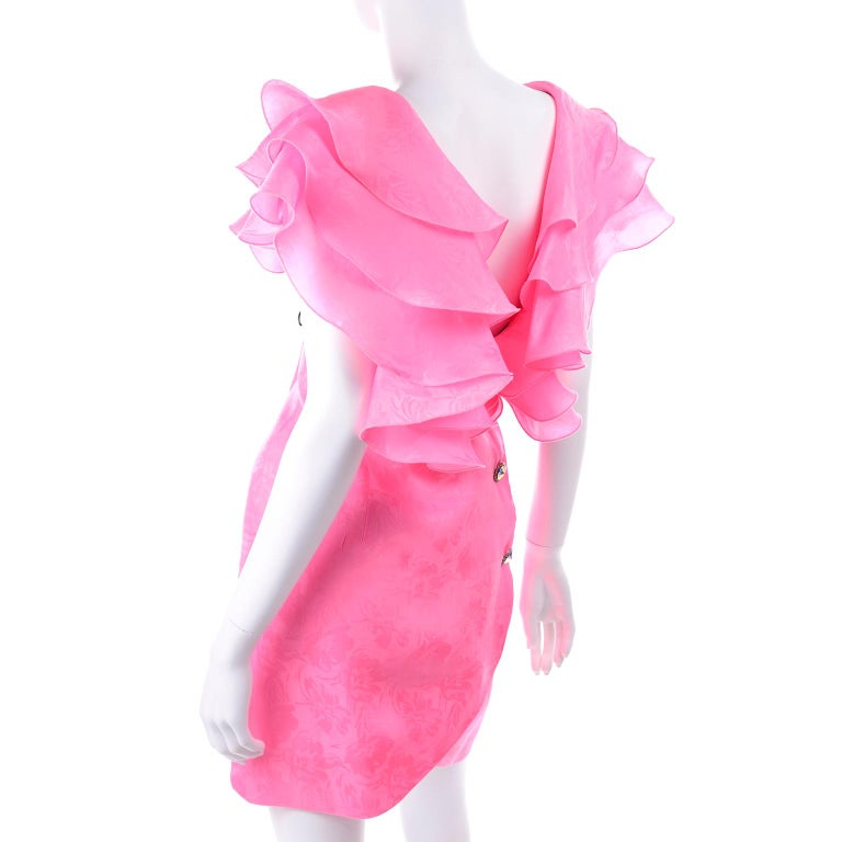 Vintage Morton Myles Saks Fifth Avenue Hot Pink Silk Ruffled Organza Dress For Sale 2