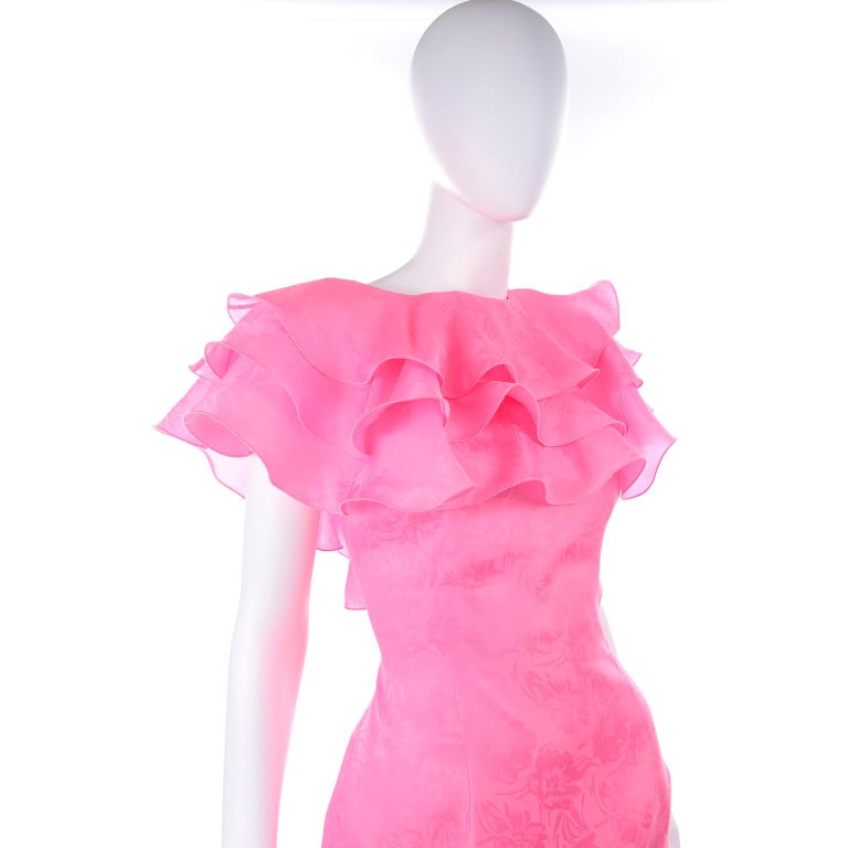 Vintage Morton Myles Saks Fifth Avenue Hot Pink Silk Ruffled Organza Dress For Sale 3