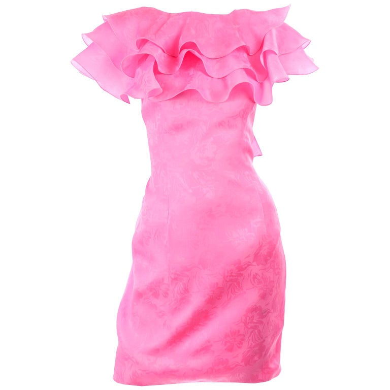 Vintage Morton Myles Saks Fifth Avenue Hot Pink Silk Ruffled Organza Dress For Sale