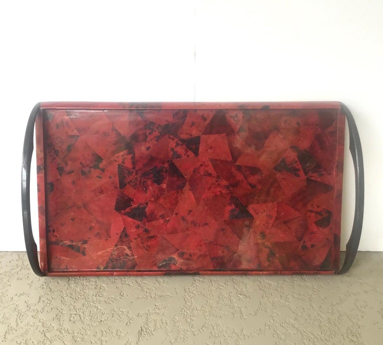 Lacquered Vintage Mosaic Serving Tray in Exotic Pen-Shell by R & Y Augousti For Sale