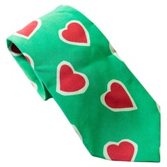 Vintage Moschino 100% silk tie with red hearts