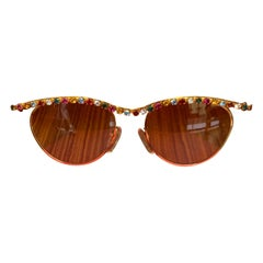 Vintage Moschino 1990s Multicolor Rhinestone and Gold Sunglasses by Persol