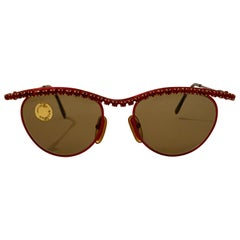 Vintage Moschino 1990s Red Metal and Rhinestone Sunglasses by Persol