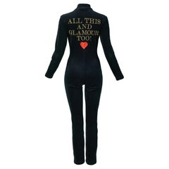 """Vintage Moschino Black """"All This & Glamour Too!"""" Jumpsuit"""