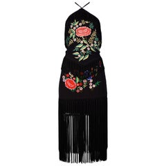 Vintage Moschino Black Embroidered Floral Halter Top & Skirt Ensemble