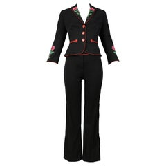 Vintage Moschino Black Embroidered Western Suit