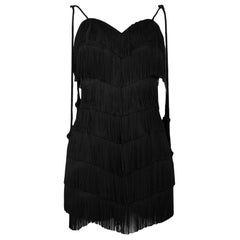 Vintage Moschino Black Fringed Flapper Dress with Tassels 1990