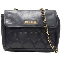 vintage MOSCHINO black heart quilted leather top flap 2.55 chain shoulder bag