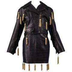 Vintage Moschino Black Leather Skirt Suit with Gold Chain Tassels 1989
