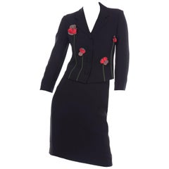 Vintage Moschino Black Skirt & Jacket Suit With Red & Green Flower Applique
