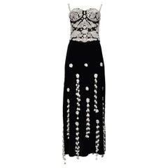 Vintage Moschino Black & White Bustier & Velvet Skirt Set with Crochet Appliqués