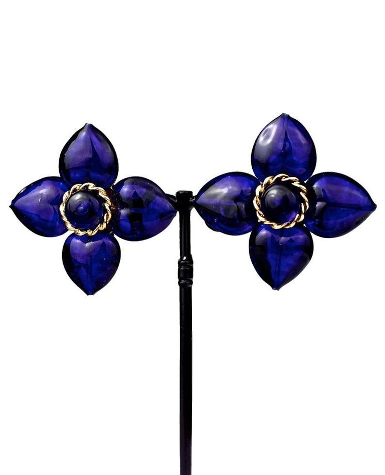 Vintage MOSCHINO Blue Glass Flower Earrings For Sale 2