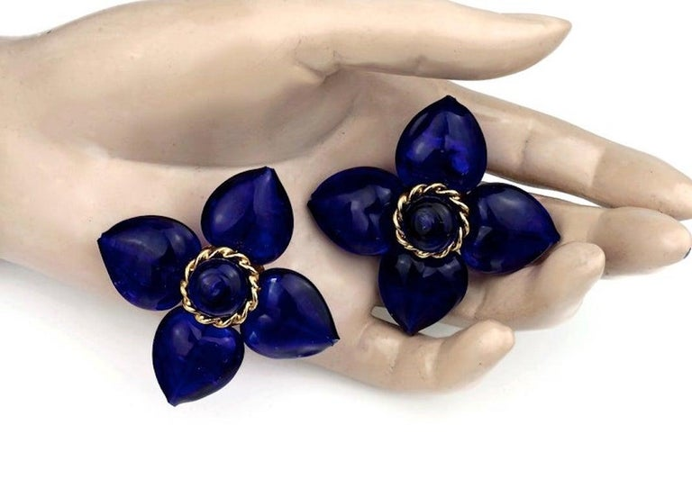 Vintage MOSCHINO Blue Glass Flower Earrings For Sale 3