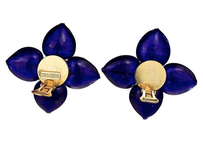 Vintage MOSCHINO Blue Glass Flower Earrings For Sale 4