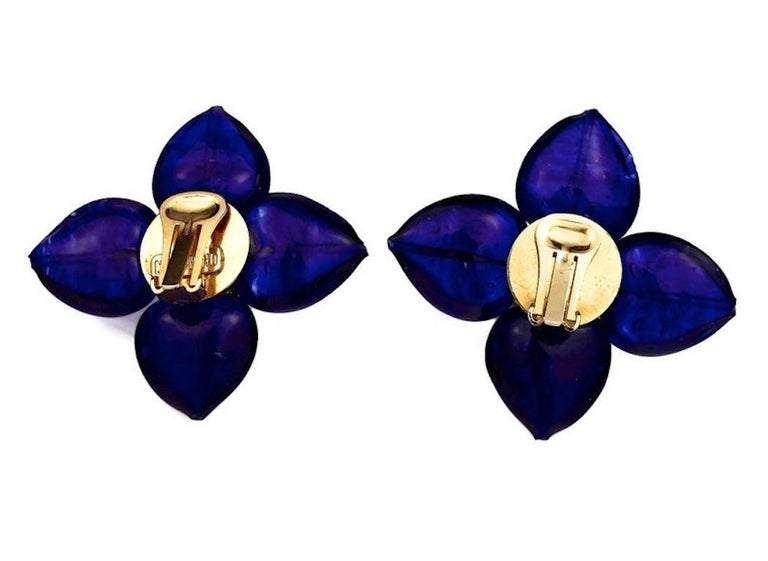 Vintage MOSCHINO Blue Glass Flower Earrings For Sale 5
