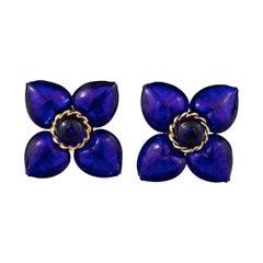 Vintage MOSCHINO Blue Glass Flower Earrings