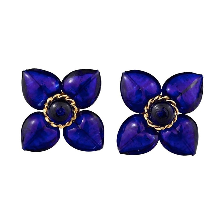 Vintage MOSCHINO Blue Glass Flower Earrings For Sale