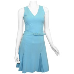 Vintage Moschino Blue Pleated Dress with Belt