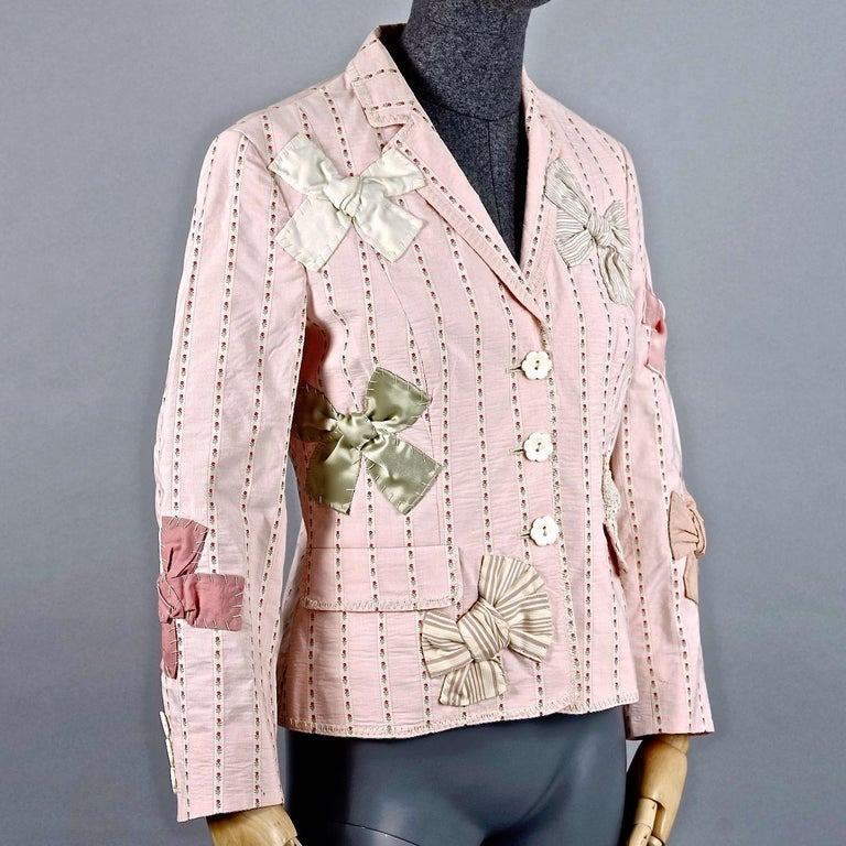 Beige Vintage MOSCHINO Bow Applique Novelty Blazer Jacket For Sale