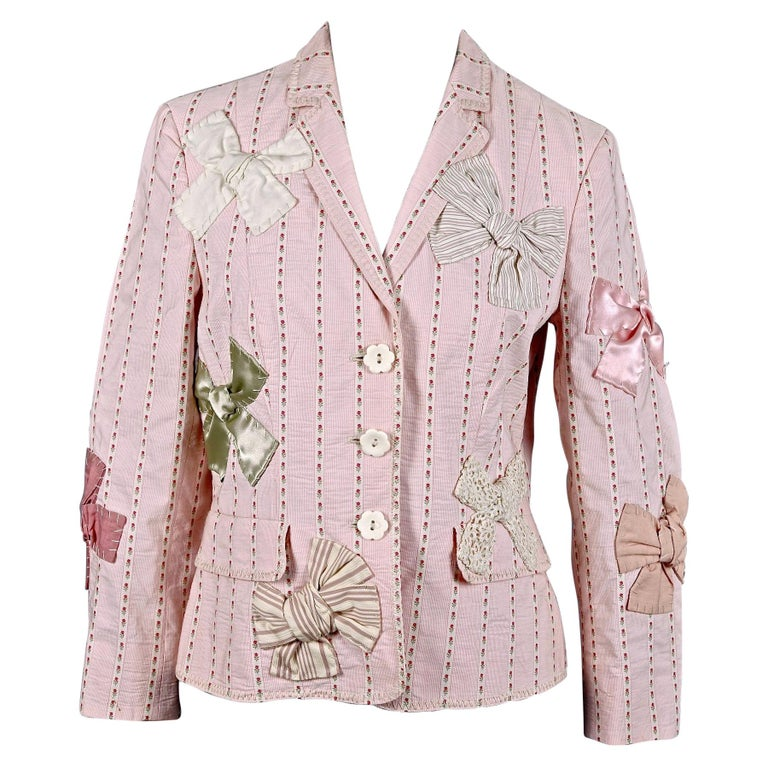 Vintage MOSCHINO Bow Applique Novelty Blazer Jacket For Sale