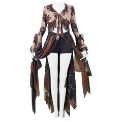 Vintage Moschino Camo & Floral Crop Top & Scarf Skirt Ensemble