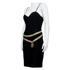 """Vintage MOSCHINO """"CARTOON COUTURE"""" Medallion Trompe L'oeil Belted Black Dress"""