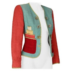 Vintage MOSCHINO CHEAP and CHIC Cake Applique Tweed Novelty Jacket