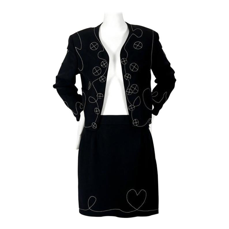 Vintage MOSCHINO CHEAP and CHIC Fun Figural Stitch Jacket Skirt Ensemble Suit