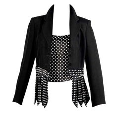 Vintage MOSCHINO CHEAP and CHIC Necktie Fringes Polka Dot Twin Set Blazer Jacket