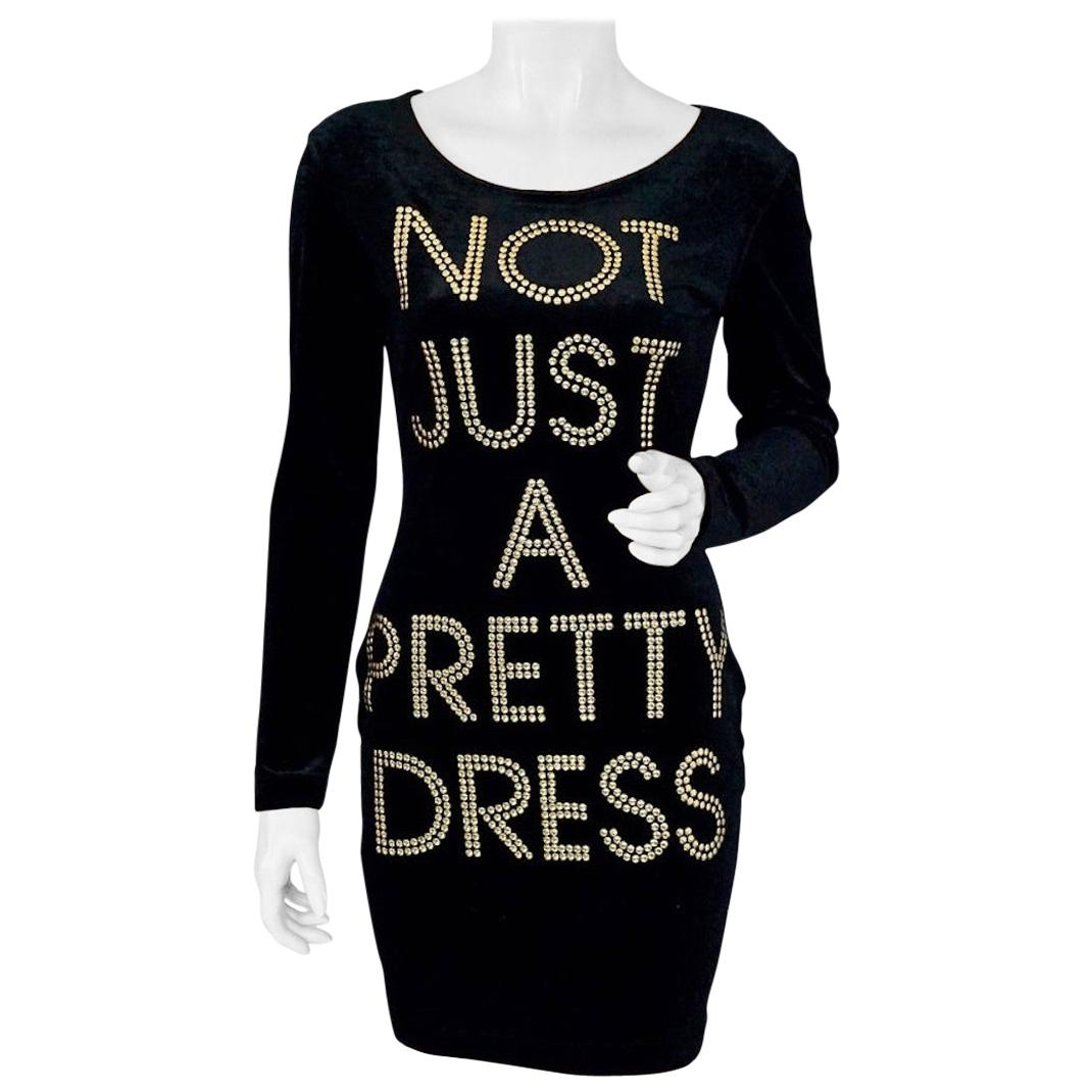 """Vintage MOSCHINO Cheap and Chic """"Not Just A Pretty Dress"""" Velvet Bodycon Dress"""