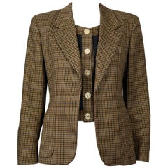 Vintage MOSCHINO CHEAP and CHIC Plaid Illusion Twinset Wool Jacket