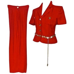 Vintage MOSCHINO CHEAP & CHIC Coin Belted Red Pant Suit Ensemble