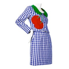 Vintage MOSCHINO Cherry Applique Gingham Jacket Skirt Suit