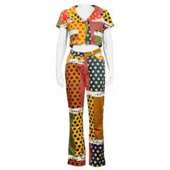 Vintage MOSCHINO Colorful Polka Dot Cropped Jacket and Pants Ensemble