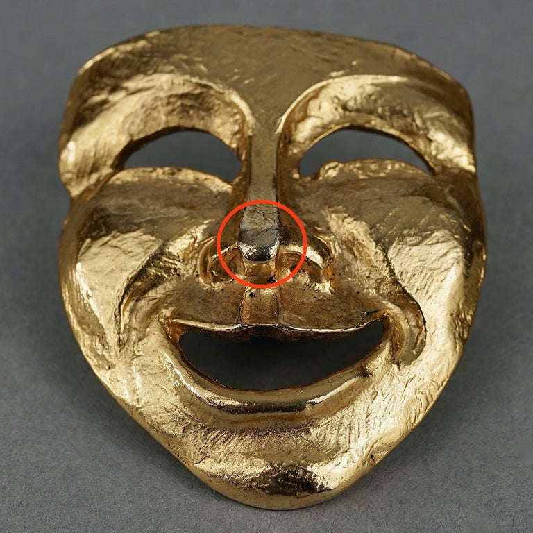 Vintage MOSCHINO Comedy Mask Novelty Brooch For Sale 6